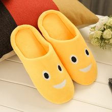 Shoes Women Slippers Soft Velvet Indoor Floor Expression Sneakers Cute Emoji Home Shoe Soft Bottom Winter Warm Shoes for Bedroom(China)