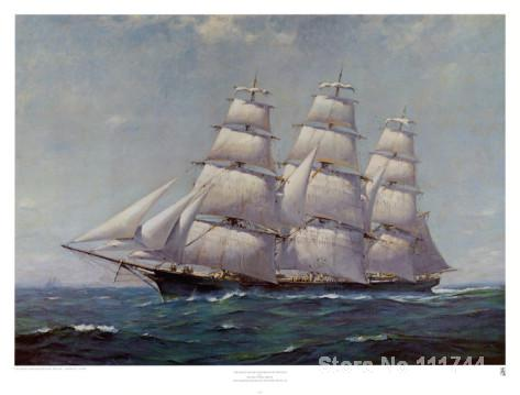 boats paintings McKay Racer Sovereign of the Seas Frank Vining Smith art for living room Handmade High qualityboats paintings McKay Racer Sovereign of the Seas Frank Vining Smith art for living room Handmade High quality