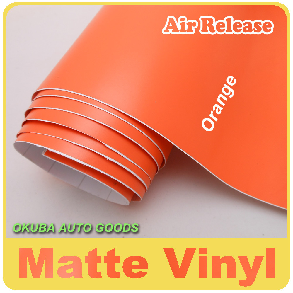 Matte Car Wrap Adhesive Matte Vinyl Film Matt Orange Vinyl Car Wrap Sticker 1.52*30m/roll