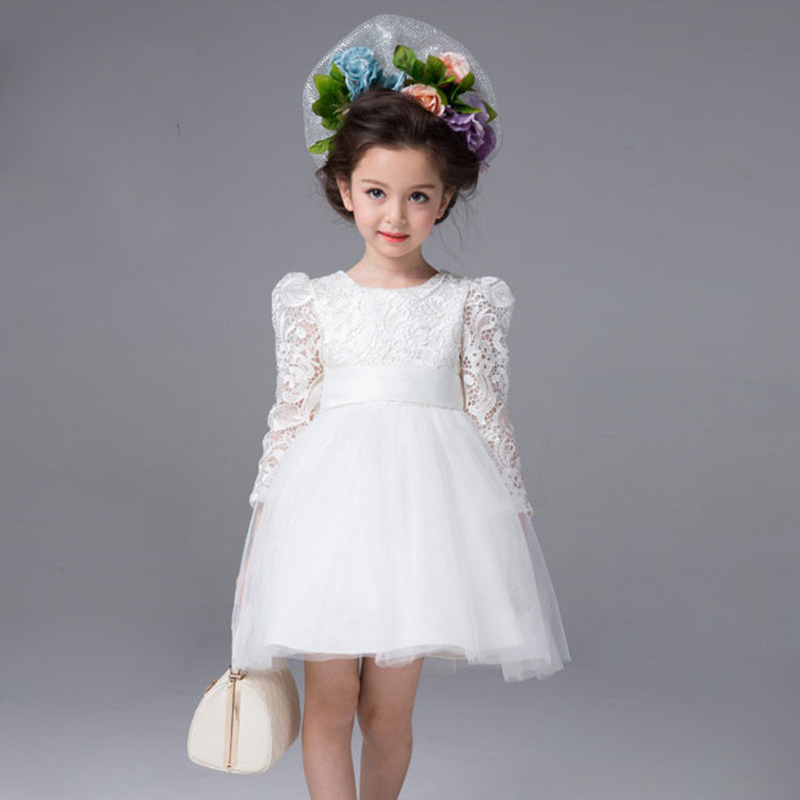 Baby wedding dress autumn girls white big bow lace dresses for Wedding dresses for child