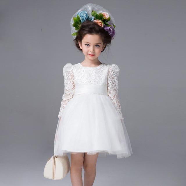 Baby Wedding Dress Autumn Girls White Big Bow Lace Dresses Children Girl Fancy 3
