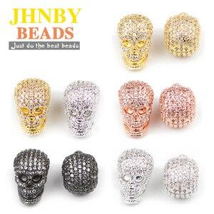 JHNBY подвески в виде черепа, медные бусины-спейсеры, Micro Pave CZ, металлические подвески, свободные шарики, украшения, браслет, аксессуары для сам...
