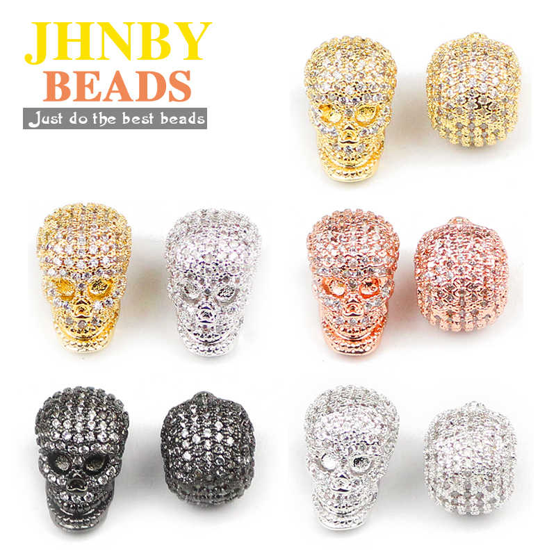 JHNBY kafatası kolye bakır halka boncuk mikro açacağı CZ kristal Metal takılar dağınık boncuklar takı bilezik yapımı DIY aksesuarları