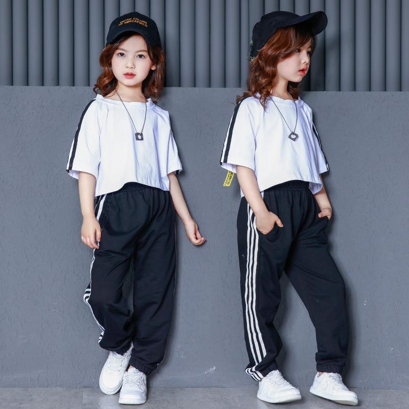 Children's Street Dance Set Girls Hip Hop Short Sleeve Dancewear Tops + Pants  Modern Jazz Dance Performance Stage Outfits