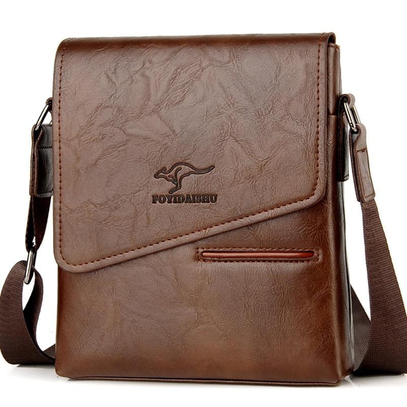 Famous Brand New Fashion Man Leather Messenger Bag Male Cross Body Shoulder Business Bags For Men Vintage Men Tote Bags Handbags