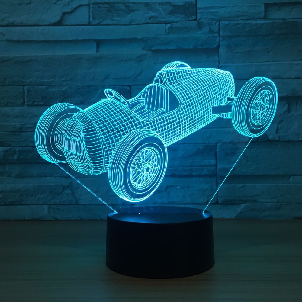 Old Racing Car Luminarias USB Night Lamp 7 Color Changing LED 3D Atmosphere Lamp Visual Nightlight Indoor Lighting Drop Shipping