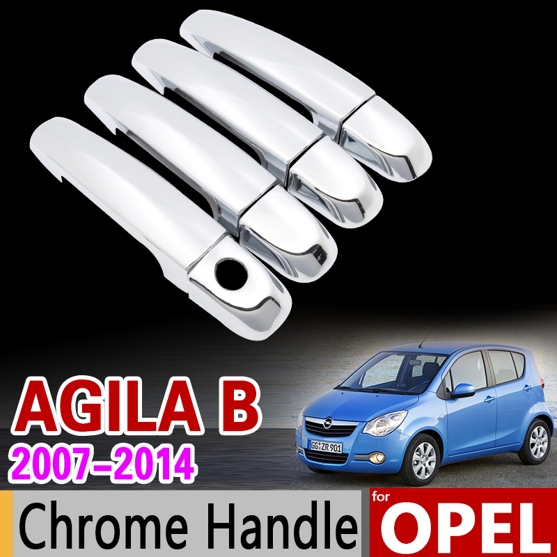 for Opel Agila B 2007 - 2014 Chrome Door Handle Cover Trim Set Vauxhall 2008 2009 2010 2011 2012 2013 Accessories Car Styling hot sale abs chromed front behind fog lamp cover 2pcs set car accessories for volkswagen vw tiguan 2010 2011 2012 2013