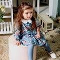 2016 новый дизайн хлопок цветок печатных питер пэн воротник длинный рукав весна милый ребенок девушки одеваются высокие колени 1 2 3 4 лет