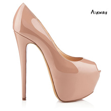 купить Aiyoway Women Shoes Peep Toe High Heels Pumps Platform Spring Summer Clubwear Evening Party Dress Shoes Slip On Nude Black по цене 3353.26 рублей