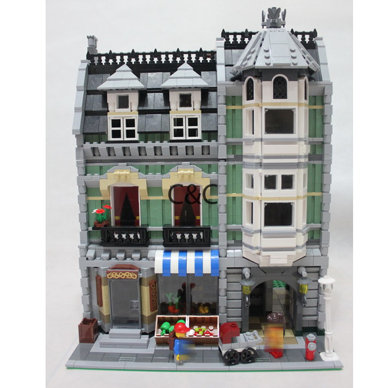 New Lepin 15008 2462Pcs City Street Green Grocer Model Building Kits Blocks Set Bricks Compatible 10185 toys for chilndren dhl lepin15008 2462pcs city street green grocer model building kits blocks bricks compatible educational toy 10185 children gift