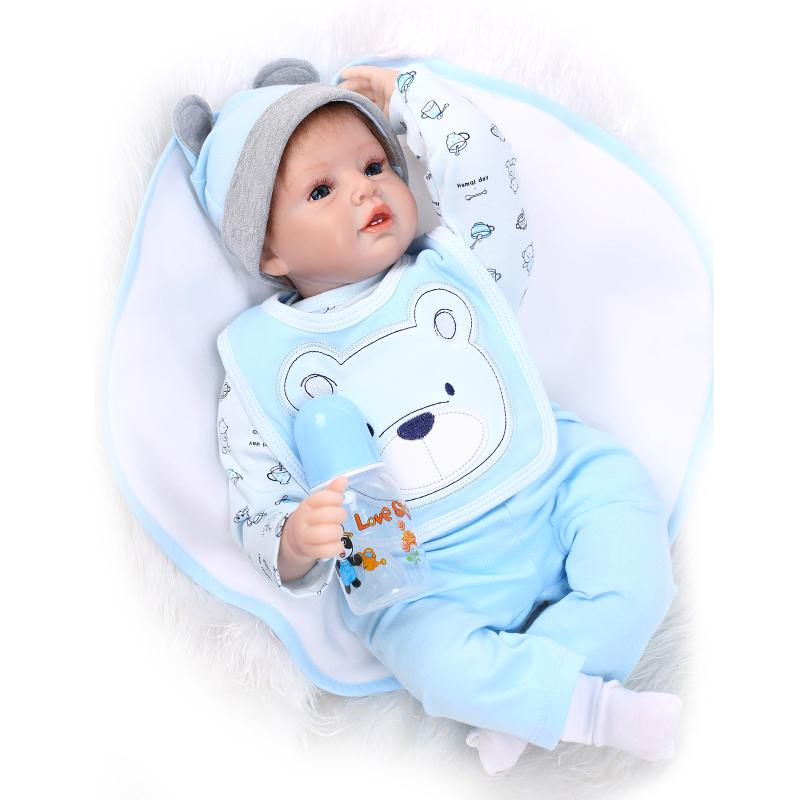 22inch 55cm Silicone Reborn Baby Dolls With Clothes Pacifier Bottle