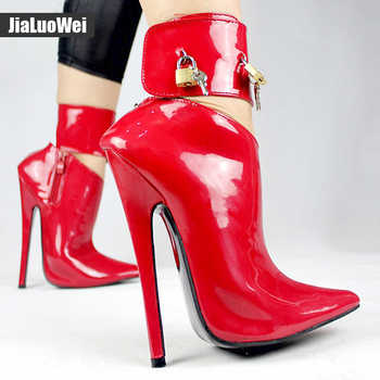 2019 Arrive Woman Fashion Sexy High Heel Pumps Dance/Party Shoes Ankle Strap Women Leather Lock Stiletto Thin High Heels shoes - DISCOUNT ITEM  0% OFF All Category