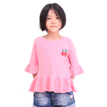 Wei Juan Cardigan For Girls Three Quarter Flare Sleeve Children Sweater Cashmere Knitting Kids Pullover Outwears