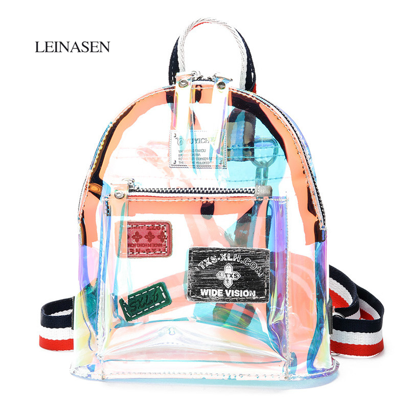 2018 New Fashion Designer Backpacks Hologram Laser Transparent Shoulder Bag Women Backpack Female Bags Mochilas Mujer sac a dos new fashion women bag messenger double shoulder bags designer backpack high quality nylon female backpack bolsas sac a dos