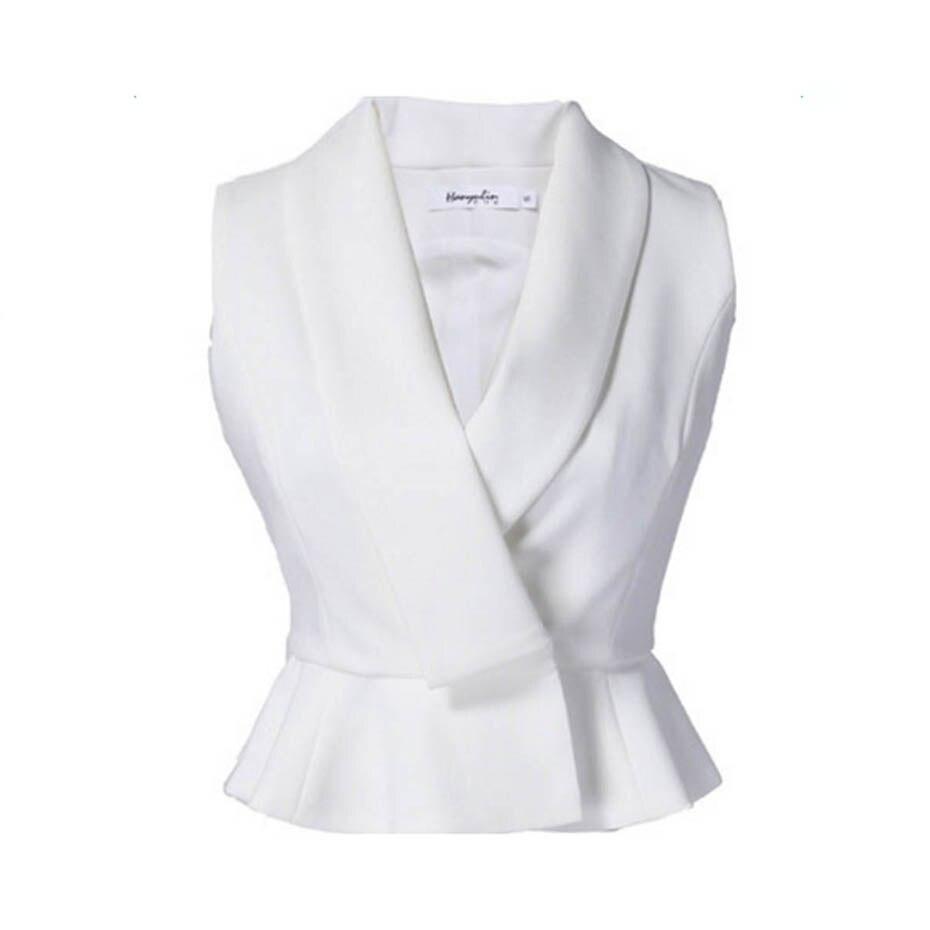 Women Notched Shirts White Shorts Lapel Ruffle Hidden Button Slim <font><b>Blouse</b></font> Tops 2018 Fashion Lady Office Sleeveless <font><b>Blouse</b></font> Shirts