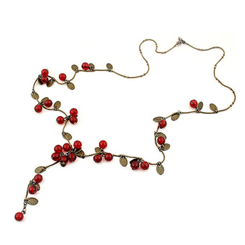 N406 Women Necklace Beautiful Red Cherries Necklace Pendant Jewelry For women 2017 New Fashion Collares Bijoux 2017 HOT