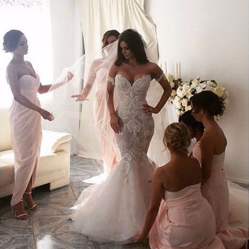 Modern Sexy Mermaid Prom Gown Sweetheart Appliques Lace Bridal Gown Wedding Party Dresses Custom Made