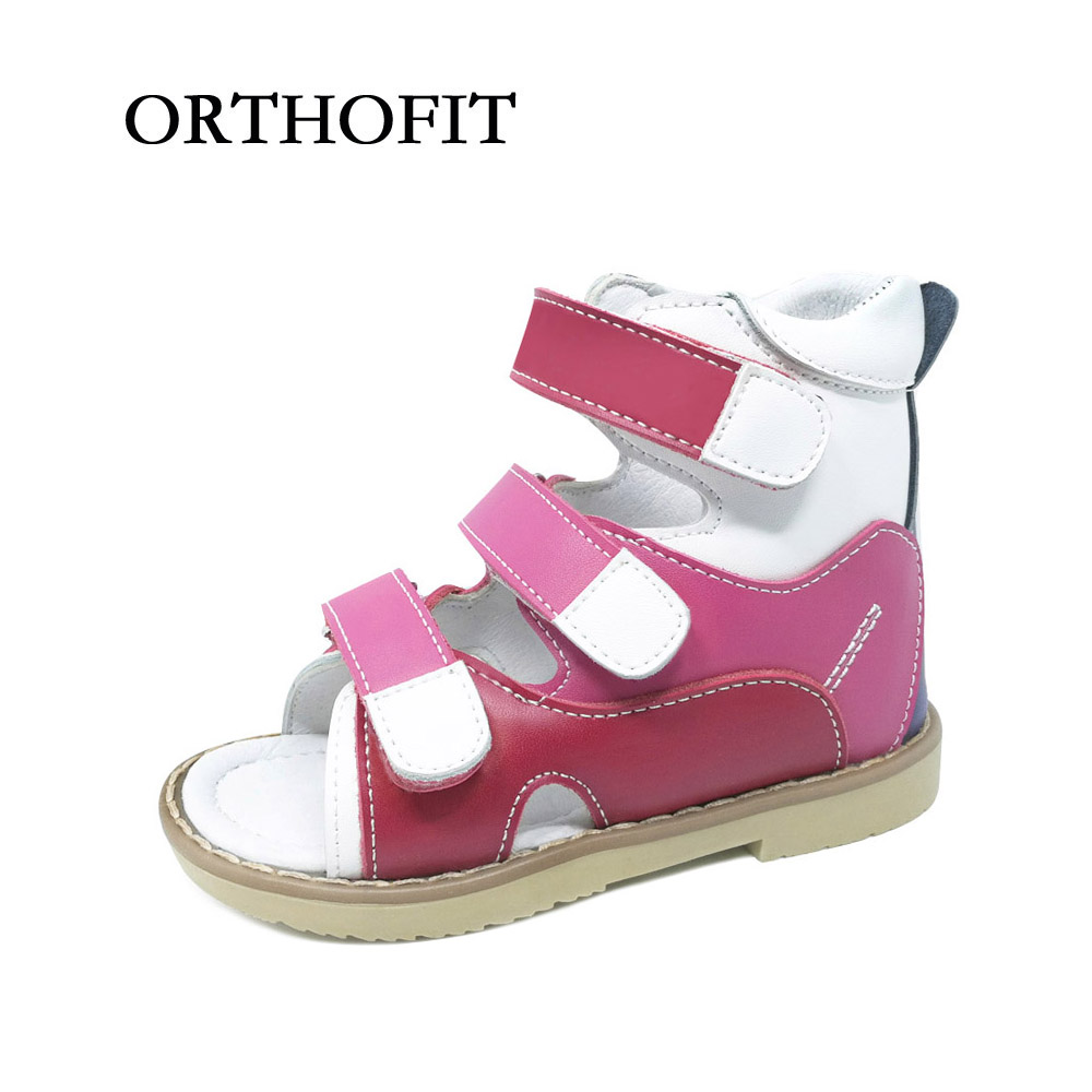 New design soft natural leather orthopedic footwear for girls , russian kids fashionable summer sandals shoes