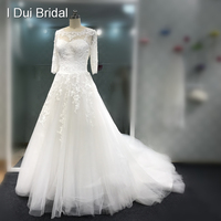 In Stock Clearance Wedding Dress 2018 Good Quality Bridal Gown Half Sleeve Lace Appliqued