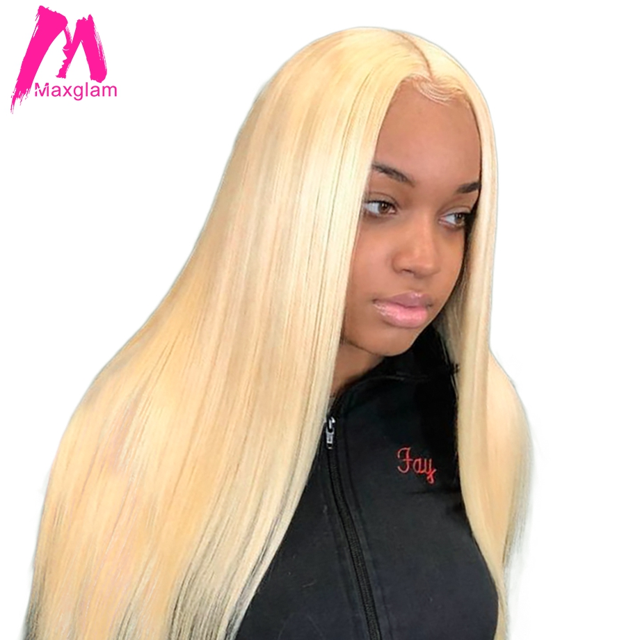 Lace Front Wigs Maxglam Blonde Lace Front Wig 613 Human Hair Wigs For Black Women Pre Plucked With Baby Hair Straight Brazilian Hair Full End