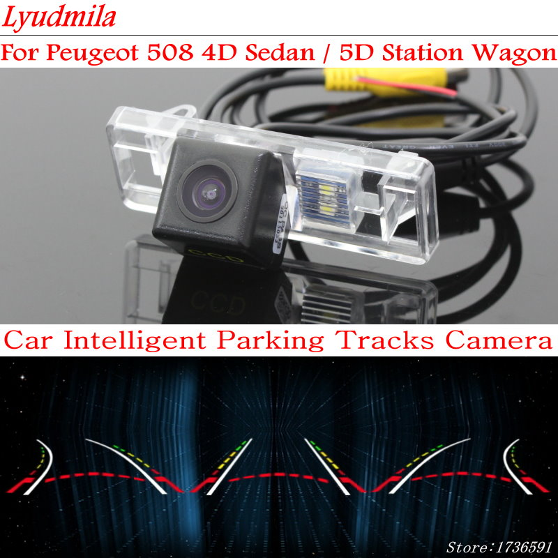 Lyudmila FOR Peugeot 508 4D Sedan / 5D Station Wagon Car Dynamic Trajectory Backup Rear View Camera With Variable Parking Line