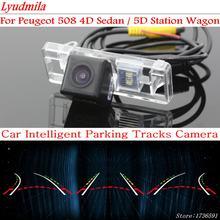 Lyudmila-cámara de visión trasera con línea de estacionamiento Variable, para Peugeot 508 4D Sedan / 5D Station Wagon, cámara de visión trasera de marcha atrás de trayectoria dinámica