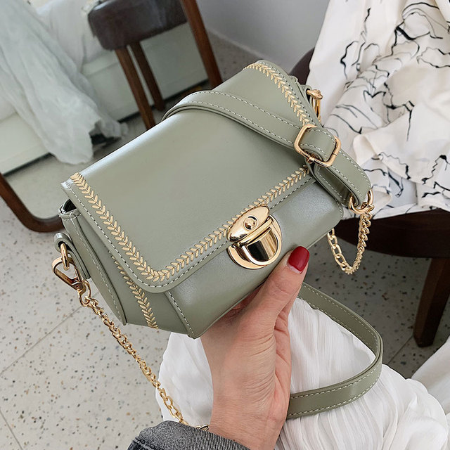 ETAILL 2019 Summer PU Leather Crossbody Bags For Women New Design Shoulder Messenger Bags with Golden Chain Embroidered Flap Bag