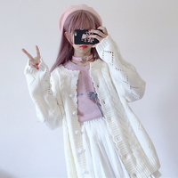 Winter Women's Knit Sweater Cardigans Autumn Japanese Mori Girl Preppy White Crochet Sweaters All Match Hollow Out Sweater Coat