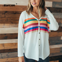 7efd6565ee ELSVIOS Striped Print Rainbow Cardigans Sweater Women Winter Autumn Long  Sleeve Knitted Sweaters Coat Ladies V