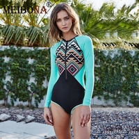 2018 Newest Women Long Sleeve Swimwear Surfing Bathing Suits Sexy One Piece Sport Swimsuit Female Beach
