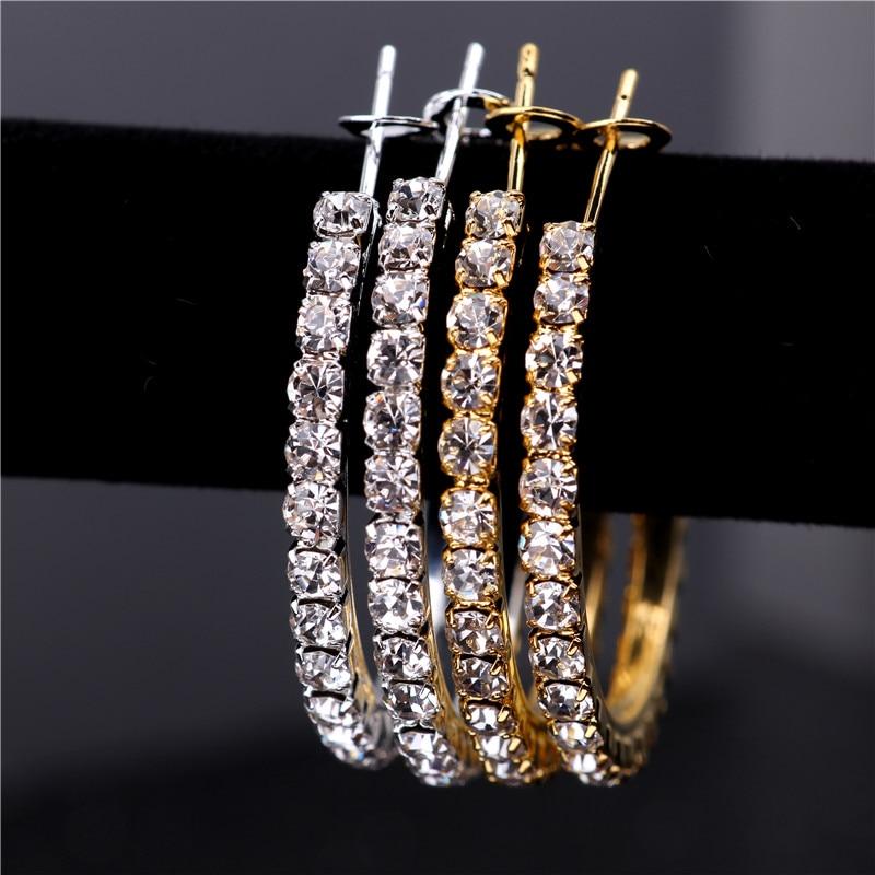 3-5cm 2 Colors Single Row Crystal Rhinestone Basketball Wives Hoop Earrings For Women