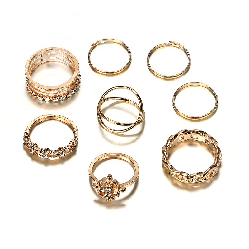 HuaTang Gold Color Flower Crystal Midi Knuckle Ring Set for Women Girl Fashion Metal Geometric Finger Rings Jewelry Anillo 7051 in Rings from Jewelry Accessories