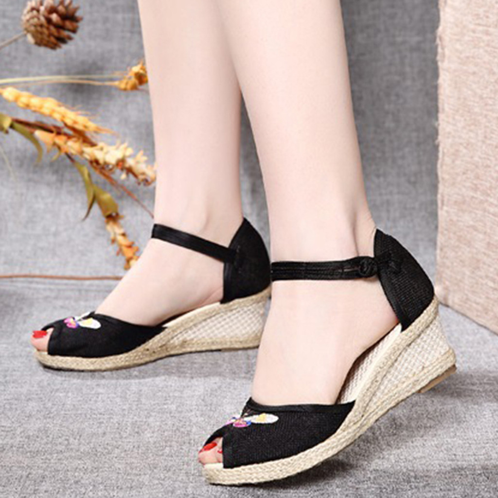 YOUYEDIAN Platform Sandals Linen Shoes Footwear Wedge Round-Toe Women Ladies Retro Casual