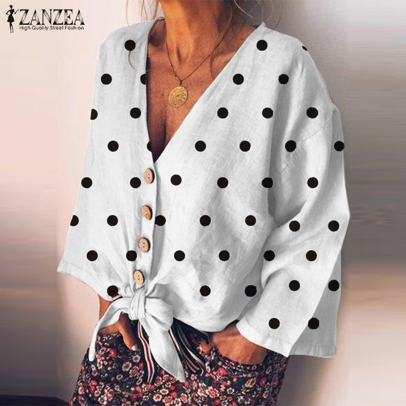 ZANZEA Polka Dot Printed Tops Women's Casual Blouse 2020 Sexy V Neck Bow Shirts Female Fashion Long Sleeve Linen Shirt Tunic 5XL