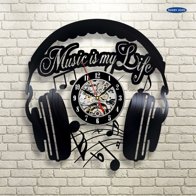 Music Vinyl Wall Clock Art Gift Room Modern Home Record Vintage Decoration Duvar Saati In Wall