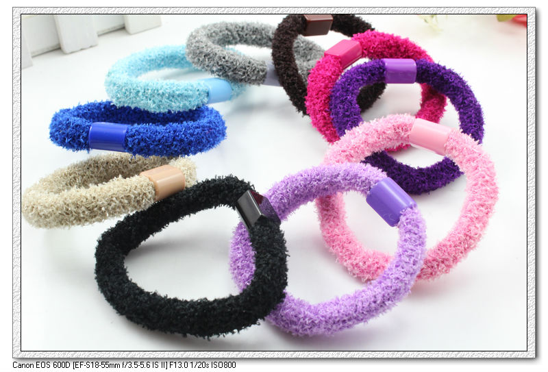 100 PCS per lot plastic connected mixed color lady girl women fabric  elastic hair bands   ponytail hoders H2045 free shipping-in Women s Hair  Accessories ... 32210576e0a