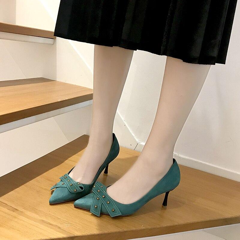 Hot Style Nouveau Pointu Noir Bout Rivets Bleu 39 Haute bleu New Chaussures Taille Mode Pompes Femmes Talons 34 Parti 2019 Noir D520 pwRxq5nE