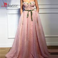 2018 Spring Vintage Arabic Pink Sweetheart Evening Prom Dresses Lace Appliques Amazing Hot Sale Party Gowns Custom Made