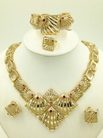 2016 Africa Nigeria Dubai Wedding New Fashion Jewelry 18K Gold Plated Gold Necklace Earrings Charming Women