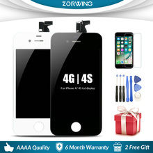 High Quality AAA Tested LCD Display For iPhone 4S Screen Replacement With LCD Digitizer Touch Screen Assembly Complete high quality replacement lcd display touch digitizer screen assembly complete for lenovo p780 free shipping