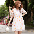 maternity dresses Large size women fat mm summer dress Korean pregnant women loose short-sleeved chiffon dress