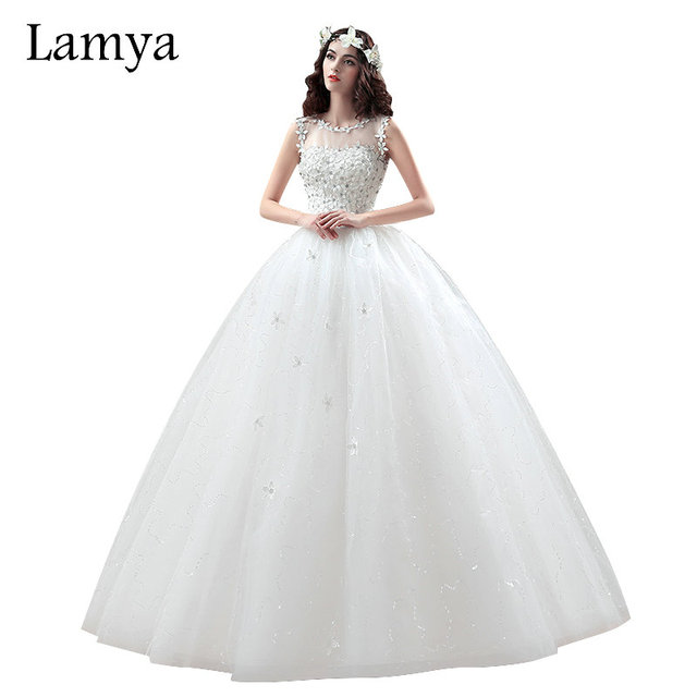 LAMYA Princess Fashionable Laciness Ball Gown Wedding Dress 2018 Romantic Plus  Size Bridal Gowns Lace Up vestido de noiva 08b1e917d2c5