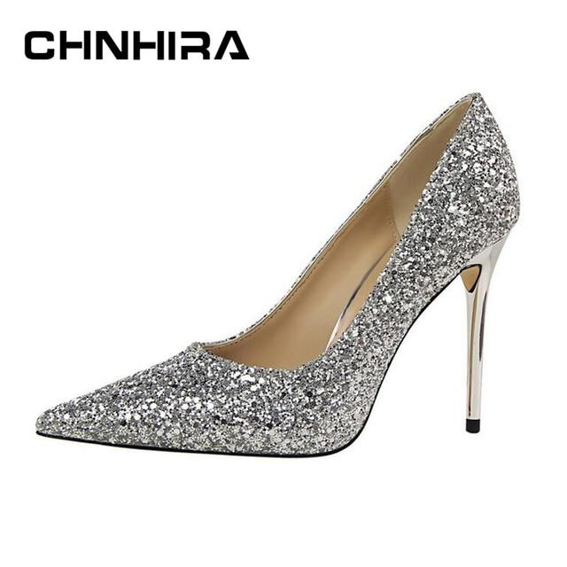 CHNHIRA Woman Shoes Gold Glitter bling bling Pumps Discount Ivalentine  Shoes High Heels Princess Wedding Shoes CH311 0833a1c0e