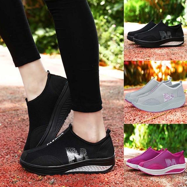 2019 New Sports Shoes Fashion Women Mesh Heightening Shoes Soft Bottom Rocking Shoes Walking Sneakers Dropshipping sportschoenen 1