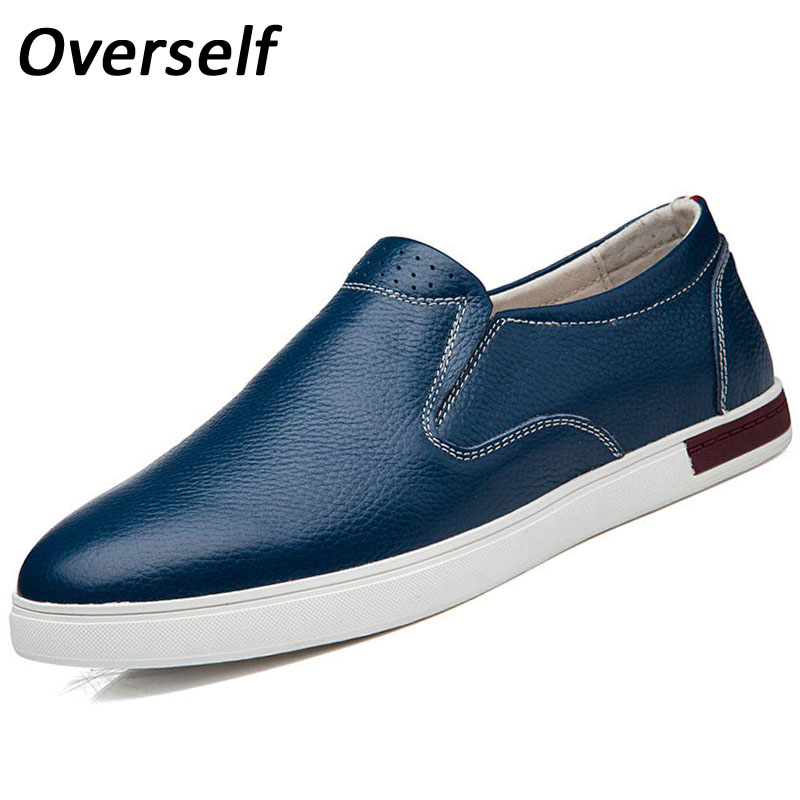Summer Breathable Genuine Leather Men Casual Shoes Hot Sale Slip On Solid Leather Mens Flats Autumn Men's Shoes branded men s penny loafes casual men s full grain leather emboss crocodile boat shoes slip on breathable moccasin driving shoes
