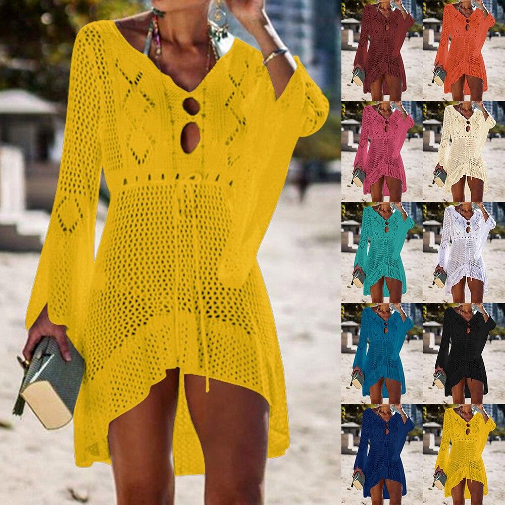 21bcfcc37184 LASPERAL 2019 playa cubierta de ganchillo tejido borla lazo ropa de playa  túnica larga Pareos verano ...
