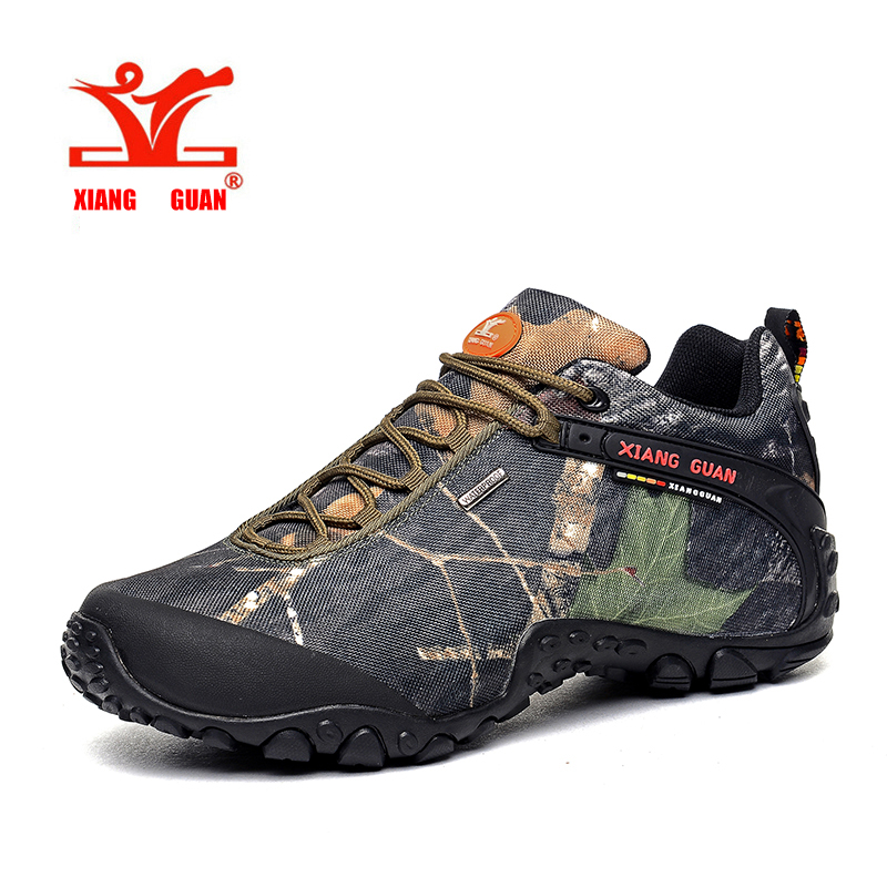 XIANGGUAN Hiking Boots Outdoor Sneakers male camouflage Climbing Camping Shoes High Cut Trekking Men Shoes  ID81289 yin qi shi man winter outdoor shoes hiking camping trip high top hiking boots cow leather durable female plush warm outdoor boot