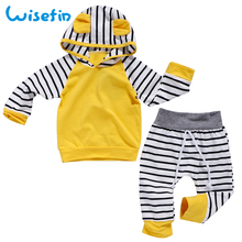 Wisefin Striped Baby Boy Girl Clothes Set Hooded Tops With Ear Tops+Pant Cartoon Newborn Infant Clothing D40