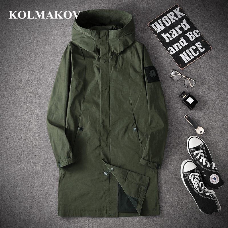 KOLMAKOV Long Trench Coats Men 2019 Autumn Casual Trench Coat M-4XL Hooded