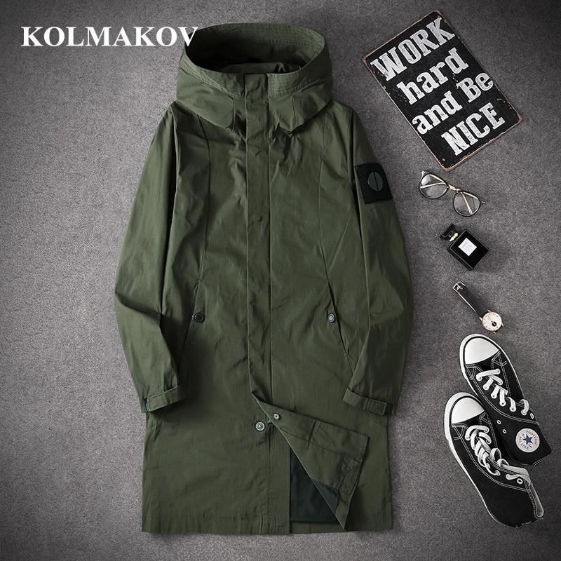 KOLMAKOV New Long Trench Coats Men 2019 Autumn Men's Casual Trench Coat M-4XL Hooded Windbreakers Male Good Quality Jackets Men